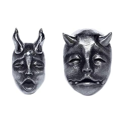 Demonio de Cuernos gótico Pendientes de Pernos de la Cara del bebé del Diablo Vintage PRJNA Pendientes del cráneo Unisex Biker Punk Straduras malvadas Joyería