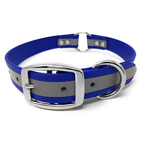 Heavy Duty Blue Reflective Dog Collar – Adjustable Dog Collar with Durable Metal Buckle and Center Ring, Anti-Odor, chew Resistant, Waterproof Dog Collar for Small Dogs and Puppies