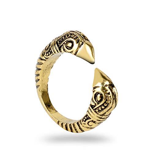 QAZXCV Goldfarbe Nordischen Wikinger Wolf Ring Ring Justierbare Finger-Ringe Knot Viking-Amulett Nordic Talisman Eröffnung Schmuck