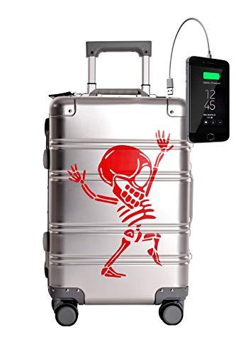 TOKYOTO - Maleta de Cabina 100% Aluminio Puro Metálica Juvenil Ultraligera Equipaje de Mano con Cargador USB, 80000mAh, 55x40x20 cm | Trolley de Viaje Ryanair, Easyjet | Rígida Silver Skull