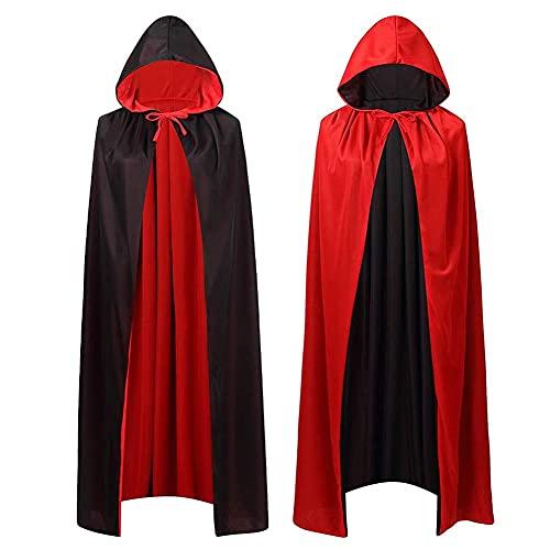 HUYIWEI Capa con capucha de doble cara negra y roja, capa de vampiro, capa de Halloween, disfraz de bruja, para mujeres y hombres a partir de 160 cm de estatura.