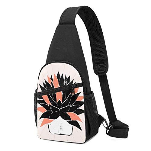 PGTry Suculents - Bolso bandolera con diseño de linocut dibujado a mano con ilustración aislada, ligera mochila para el hombro, mochila para el pecho, bolsa cruzada, bolsas de viaje, senderismo, para hombres y mujeres