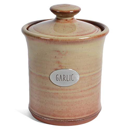 Oregon Stoneware Studio Garlic Keeper, Handmade American Pottery, Latte