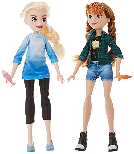 Disney Princess  Elsa & Anna Dolls with Comfy Clothes and  Accessories