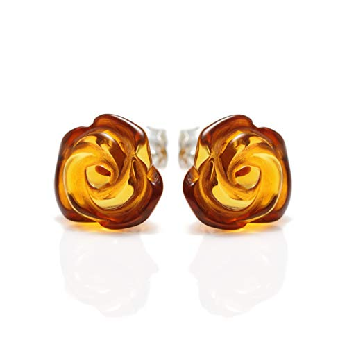 925 Sterling Silver Stud Earrings Rose with Natural Honey Baltic Amber for Women - Hypoallergenic