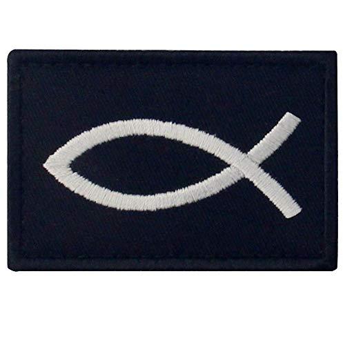 Jesus Fisch Ichthys Bestickter Aufnäher mit Klettverschluss, Weiß schwarz