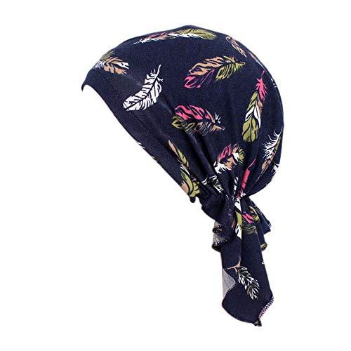 Locisne Bufanda de cabeza pre-impresa estampada para mujer Sombrero de cabeza de turbante Chemo Beanie Headwear para cáncer, quimioterapia, pérdida de cabello (FEATHERBLUE)
