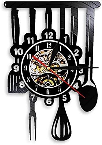 Chef vajilla decoración Cocina Reloj de Pared Utensilios de Cocina Disco de Vinilo Reloj de Pared álbum Retro Mural Restaurante decoración