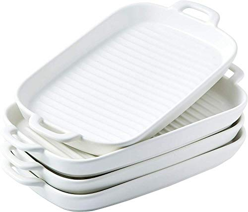 Ceramic Rectangular Baking Dish Grill Dinner Plates Set of 4 White-Bakeware sets-kitchen accessories-Baking pan-Cake pan-Baking pans-Baking sheets-Cookie sheets for baking-Baking dish