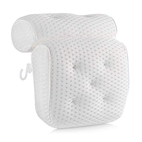 MKUTO お風呂 まくら 枕 バスピロー 吸盤付き バスタブ リラックス 浴用品 (ホワイト)