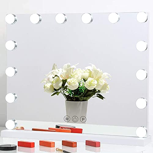 BWLLNI Vanity Mirror with Lights, Large Hollywood Lighted Makeup Mirror 14 Dimmable LED Bulbs, Tabletop Mirror for Dressing Room & Bedroom, Smart Touch Control 3 Color Lighting Modes(White)