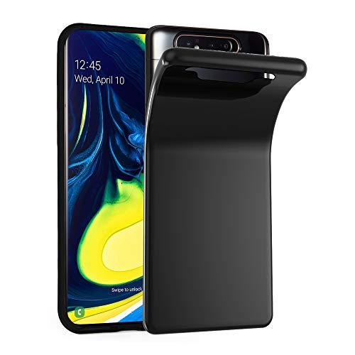 Cadorabo Hülle für Samsung Galaxy A80 / A90 in SCHWARZ - Handyhülle aus flexiblem TPU Silikon - Silikonhülle Schutzhülle Ultra Slim Soft Back Cover Hülle Bumper