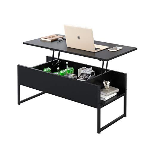 Beliwin - Mesa de centro elevadora con almacenamiento oculto y marco de metal, escritorio de ordenador para sala de estar y oficina (negro completo)