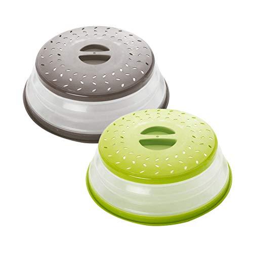 Hwtcjx Tapa Microondas, Cubierta del microondas, Tapa Plegable para Microondas, Hecho de plástico PP + TPR Material, a Prueba de Aceite y Salpicaduras, Cesta de Drenaje (Amarillo, Gris, 2 Piezas)