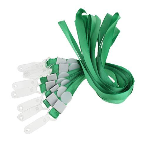 SM SunniMix Cordón Plano Unisex de 10 Piezas con Correa de Plástico para El Cuello con Clip para Llaves - Verde