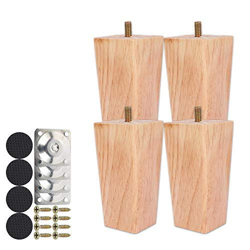 Height Sofa Legs Wooden Furniture Legs,Set of 4 Wood Sofa Legs Solid Replacement Furniture Legs Armchair Cabinet Feet M8 Bolt with Mounting Plate & Screws for Ottoman Couch Dresser (10CM)