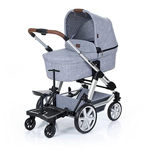 Set ABC Design Trittbrett Kiddie Ride On 2 mit Stoffwindel von Kinderhaus Blaubär | Mitfahrbrett universal passend | Rollbrett für Kinderwagen Buggy bis 20 kg, Größe:SET Trittbrett + Sitz