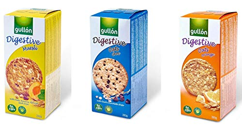 Gullon Digestive Biscuit Cookie Variety Pack - 3 Flavors - Gullon Oats & Orange Digestive Biscuits - Gullon Oat and Choco Digestive Biscuits - Gullon Digestive Muesli Biscuits, 1 Pack of each