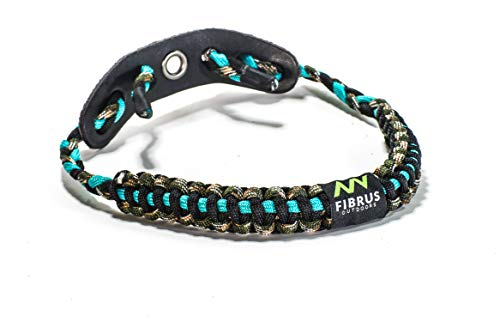 Fibrus Outdoors Bow Wrist Sling 550 Paracord - Survival Hunting Shooting - Durable Leather with Grommet (Multiple Color Options) (Turquoise Camo Black)