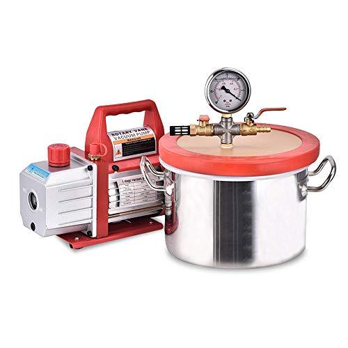 Kit de cámara de vacío para desengrasar con bomba de vacío de una sola etapa de 3,5 CFM HVAC 1,5 galones (6,8 litros) cámara de vacío con bomba de laboratorio desecador de cámara de vacío TOPQSC