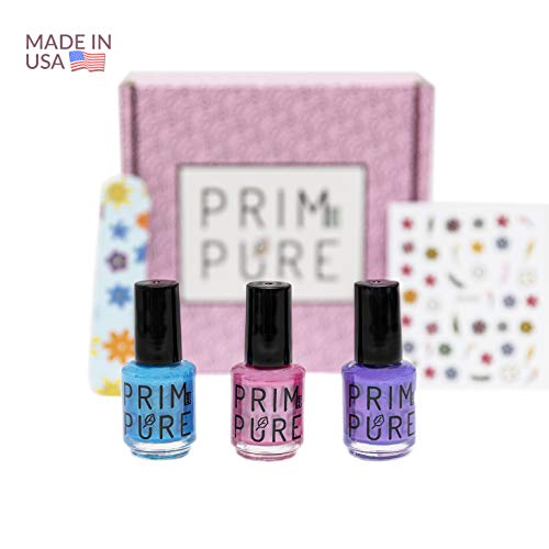 Nail Polish - Prim and Pure Nail Polish Brand, Natural Fruit and Veggie Nail Polish for Kids, Safest Formula for Kids, Completely Odorless and Quick to Dry (Pink, Purple, Teal)