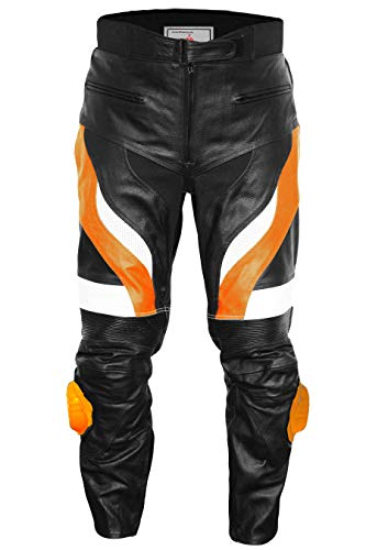 Motocicleta Pantalones motocicleta Biker Racing piel Pantalón Piel de vacuno Negro/Naranja Varios colores negro / naranja Talla:46