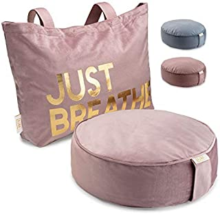 Buckwheat Meditation Cushion Round Zafu Yoga Pillow - Zafu Meditation Cushion Velvet with Zippered Organic Cotton Liner to Add or Remove Hulls | Machine Washable | Carrying Handle & Free Carry Bag
