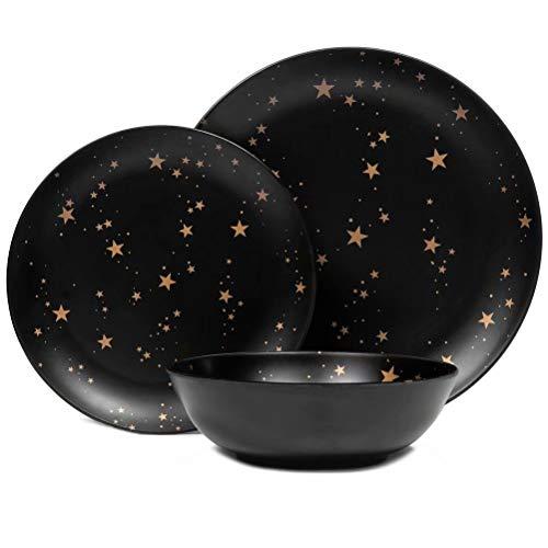 Melamine Plates and Bowls Set - 12pcs Dishes Dinnerware Set for 4, Dishwasher Safe, Black, Star Pattern