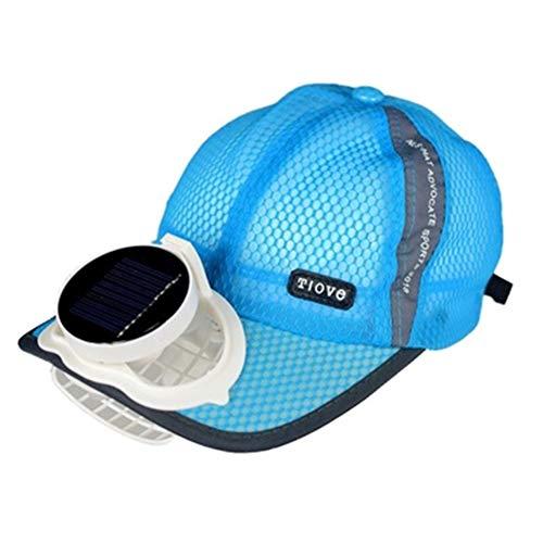 ANHPI Pesca De Verano Gorra De Béisbol De Golf con Ventilador Solar Sombrero Solar para Hombres Y Mujeres Malla Transpirable Doble Carga Tamaño Ajustable Al Aire Libre, 3 Colores (Color : Blue)