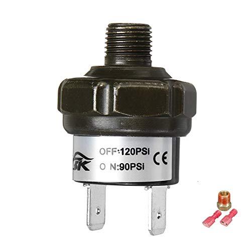 70 90 100 120 150 180psi 1/8' a 1/4' Interruptor de presión NPT Conector PSI Air Ride Compresor tanque de control (Color : 90 120Psi)