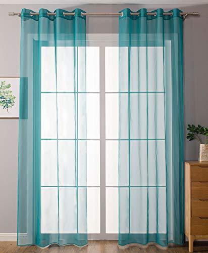 Gordijnbox, set van 2 ogen, gordijnen, transparant, gordijn voor woonkamer, voile met ogen, loodbandsluiting, 100% polyester, turquoise, hxb 175x140 cm