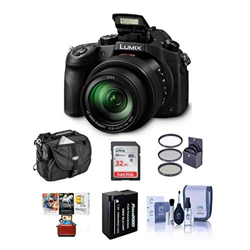 Panasonic Lumix DMC-FZ1000 Digital Camera, Bundle with 32GB Class 10 SDHC Card, Camera Case, Spare Battery, 62mm Filter Kit, Cleaning Kit, Mac Software Bundle