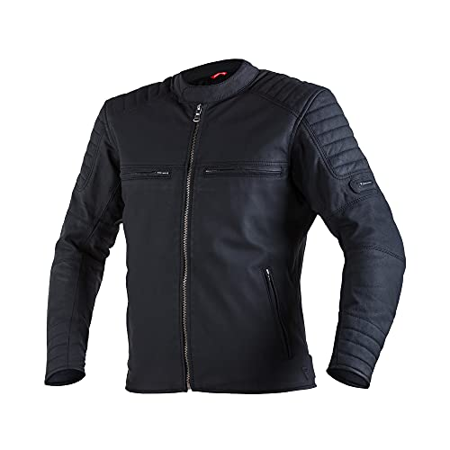 REBELHORN Hunter Pro Chaqueta de moto de cuero vintage para uso informal Protectores de codos y hombros de nivel CE 2 2 canales de ventilación 4 bolsillos