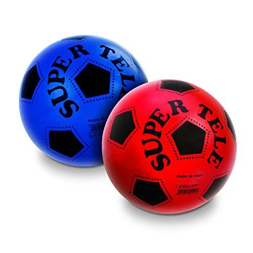 Mondo Toys - Pallone da Calcio SUPERTELE - per bambina/bambino - colore rosso/bianco/giallo/blu - 04204