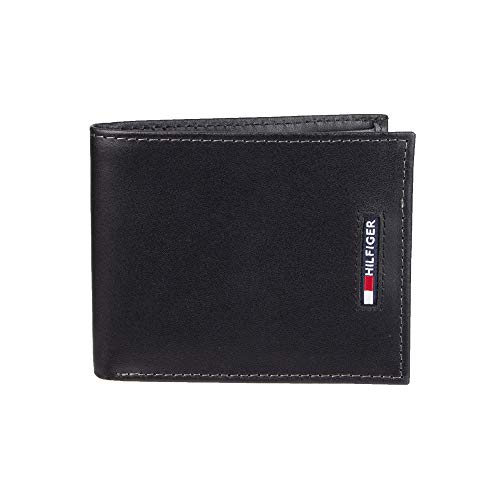 Tommy Hilfiger Men's Leather Wallet – Slim Bifold with 6 Credit Card Pockets and Removable ID Window, Black Minimal, One Size