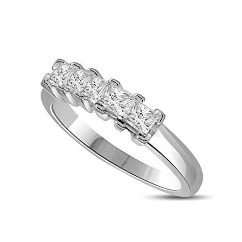 0.90ct F/VS1 Diamante Half Eternity Anello da Donna con Princess diamanti in 18kt Oro bianco