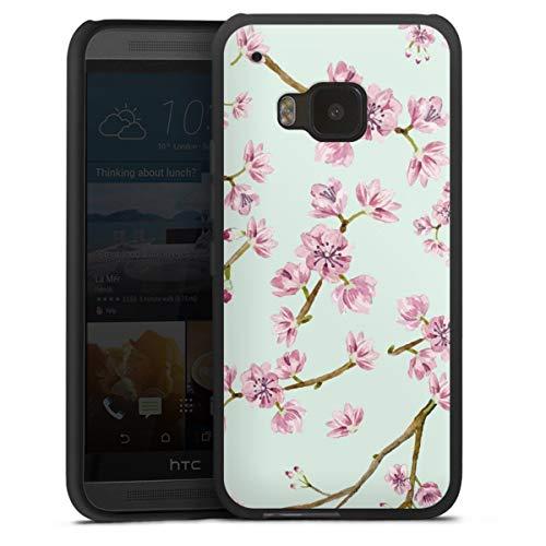 DeinDesign Silikon Hülle kompatibel mit HTC One M9 Case schwarz Handyhülle UtArt Kirschblüten Kirschbaum