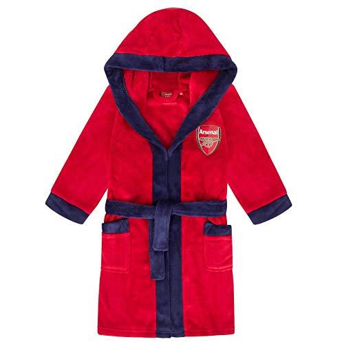 Arsenal FC - Jungen Fleece-Bademantel mit Kapuze - Offizielles Merchandise - Geschenk für Fußballfans - Rot - 11-12 Jahre
