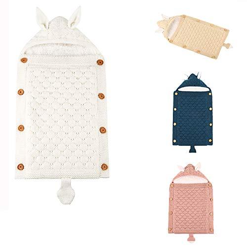 Recién Nacido Suave del bebé Swaddle Bolsa de Manta para Dormir y cálido Envolver la Lana Saco de Dormir Cochecito Paquete Unisex Adecuado para 0-12 Meses los niños y niñas,Beige
