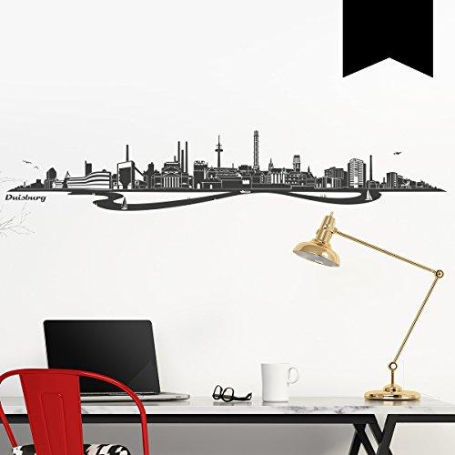 WANDKINGS Wandtattoo - Skyline Duisburg (mit Fluss) - 200 x 36 cm - Schwarz - Wähle aus 6 Größen & 35 Farben