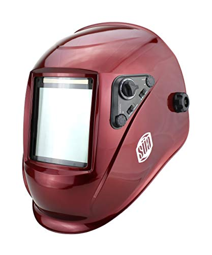 "SÜA Welding Helmet - Model: Vector - Auto Darkening - Largest Viewing Area: 4"" x 4"" - Photovoltaic Powered - Ergonomic Headgear - Color: Red"