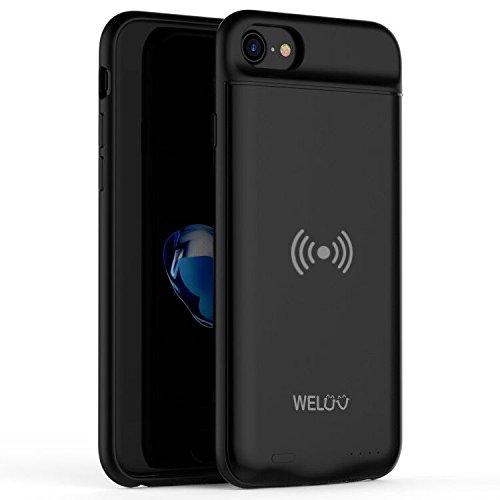 WELUV Funda con batería Qi para iPhone 6, 6s, 7, 8, SE 2020, carcasa de carga inalámbrica de 3000 mAh, carcasa de carga inalámbrica fina, funda protectora suave