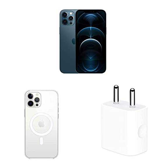 New Apple iPhone 12 Pro Max (128GB) - Pacific Blue with Apple Clear Case with Magsafe (for iPhone 12 Pro Max) and Apple 20W USB-C Power Adapter
