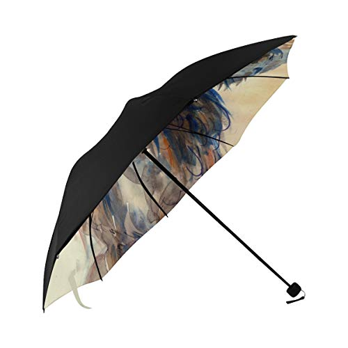 Owl Oil Painting Animal Bird Gray White Natural Big Eyes Sharp Cute Compact Travel Umbrella Parasol Anti Uv Foldable Umbrellas(underside Printing) As Best Present For Women Uv Protection