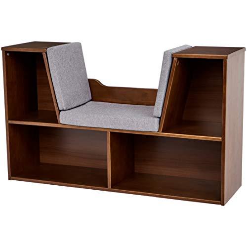AmazonBasics Kids Bookcase with Reading Nook and Storage Shelves, Espresso