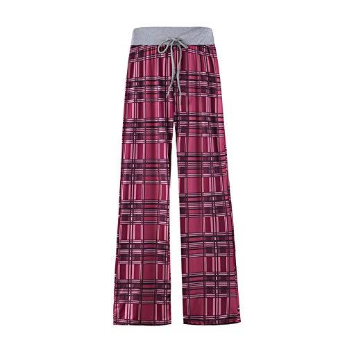 Hhckhxww Leopard Print Comfortable Casual Stretch Drawstring Pajama Pants Wide Leg Pants Women