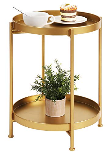 Metal End Table 2-Tier Side Table Round Coffee Table for Sofa Living Room Tea Table (Gold)