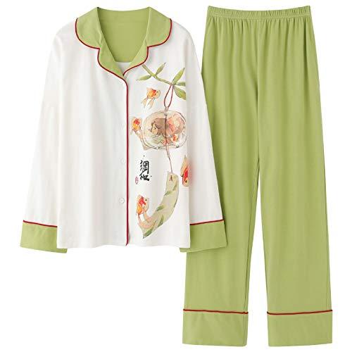DFDLNL Pijamas de algodón para Mujer, 2 Piezas, Conjunto de Primavera y otoño, Ropa de casa de Manga Larga, Pijamas, Ropa de Dormir de Punto para Mujer, Traje M
