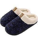 AioTio Pantuflas de Algodón con Memoria para Hombre Pantuflas Cálidas Zapatillas de casa Forro de Felpa Cómodo Antideslizante (42/43 EU,Azul Real)