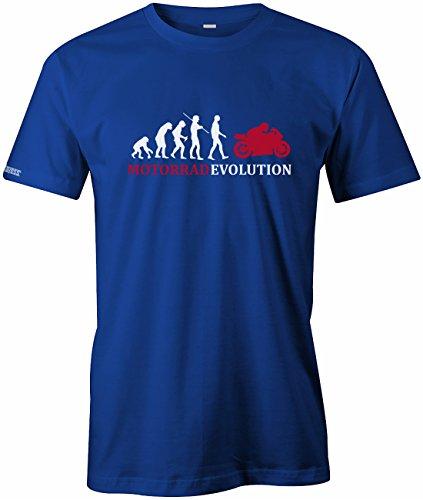 Jayess Motorrad Evolution - Herren T-Shirt in Royalblau by Gr. L